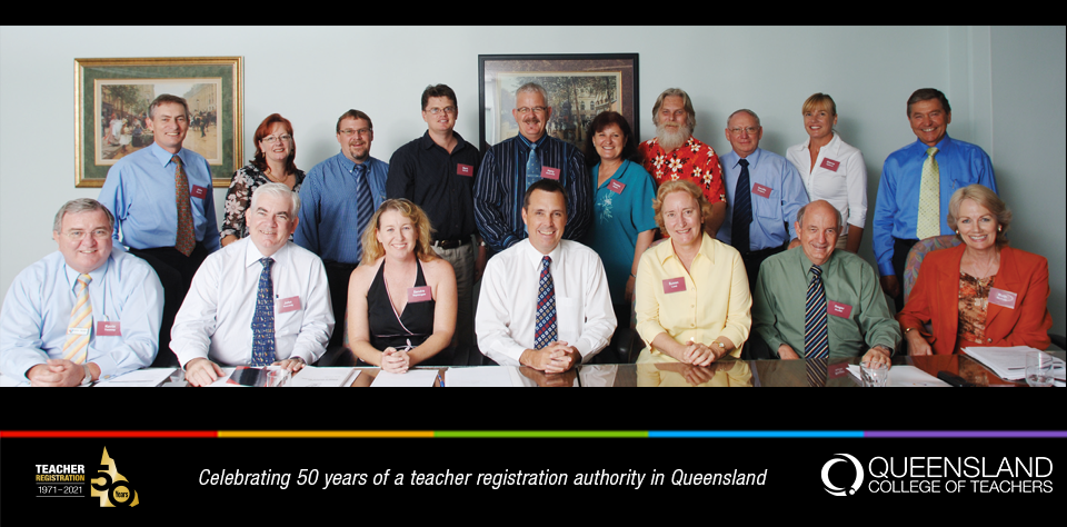 Members of the the 2006 QCT Board seated at the board table.