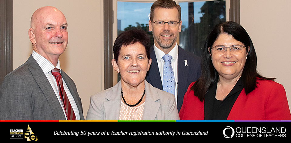 QCT Director John Ryan, QCT Chair Emeritius Professor Wendy Patton, Department of Education Director General Tony Cook and Minister for Education, Hon. Grace Grace in 2019.