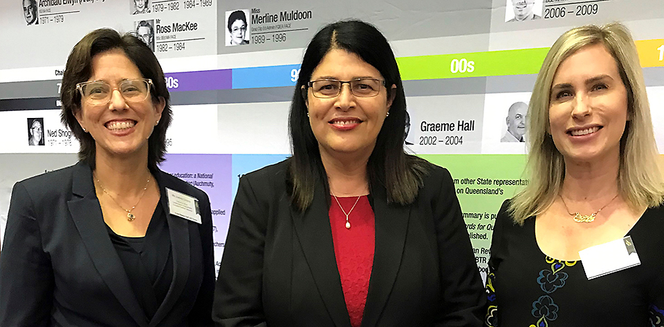 QISPN Executive Officer Justine Cirocco with Education Minister Grace Grace and Joint Council of Queensland Teachers' Associations President Danielle Gordon.